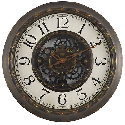 Large quartz round wall clock with old world map face and seconds gears 16 large brushed oil rubbed bronze wall round wall clock quartz new gumiabroncs Image collections