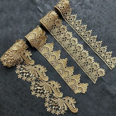 Vintage Or Dentelle brodée garniture de bord RUBAN Custome décore Applique DIY