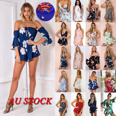 AU Women Summer Floral Mini Jumpsuit Casual Party Beach Holiday Playsuit Romper