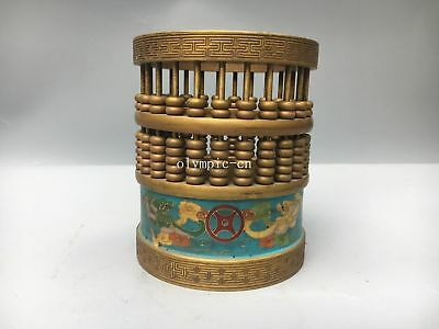 bronze copper cloisonne enamel carved chinese abacus brush pot statue