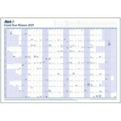 Giant Laminated 2019 Yearly Wall Planner