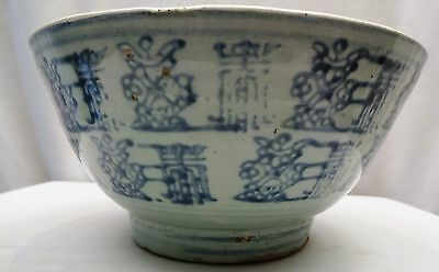 Ming Dynasty Glaze Blue & White Bowls Antique Chinese Pottery Rare Collectables