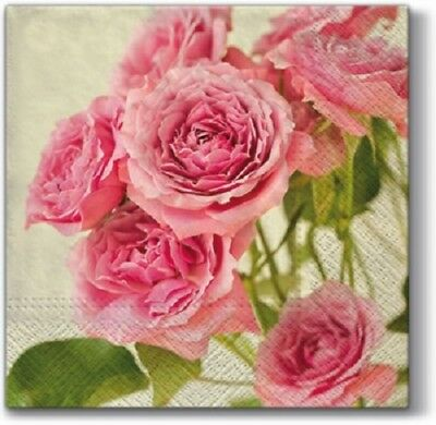 3 Paper Napkins for Decoupage / Tea Parties / Weddings - Pink Roses