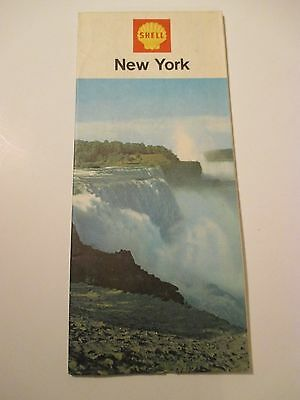 Vintage 1967 SHELL NEW YORK Oil Gas Station Road Map