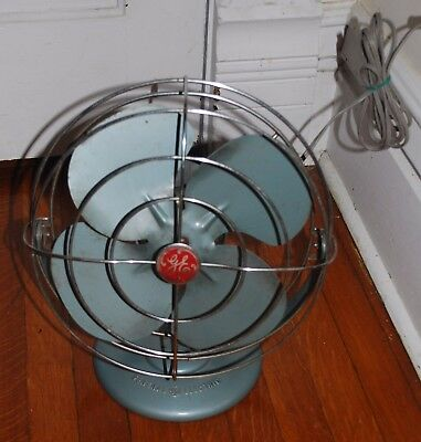 Vintage General Electric GE Blue Metal Oscillating Fan Working Retro
