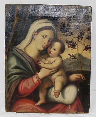 Antique 16/17th Century Old Master Painting Madonna and Child Bonifazio Veronese