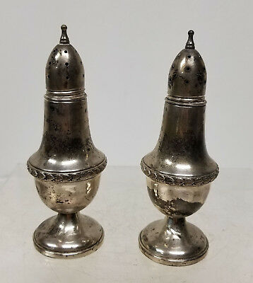 Antique Vintage Pair of Sterling Silver Weighted Salt and Pepper Shakers