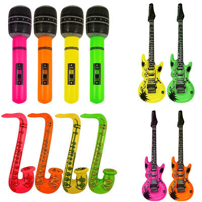 12 Inflatable Music Instruments Guitar/Microphone/SAXOPHONE COLOURFUL BLOW UP