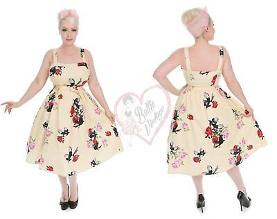 Hearts & Roses London 50s Vintage Yellow Retro's Rose Print Floral Swing Dress