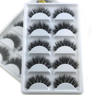 5Pairs 3D Mink False Eyelashes Wispy Cross Long Thick Soft Fake Eye Lashes LWK