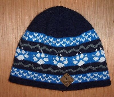 CUB SCOUTS Beanie Hat Cap Wolf Blue Gray Paw Print Child Size