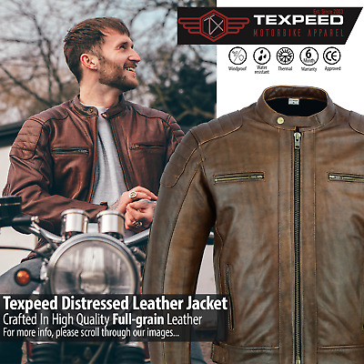 Texpeed Brown Distressed Armour Cowhide Leather Motorcycle Motorbike Jacket