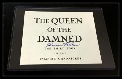 AUTOGRAPHED HAND SIGNED Anne Rice Signature QUEEN DAMNED THIRD BOOK COA Free S&H