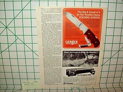 Gerber Folding Knife  Printed Ad From Shooting Times Sep '77