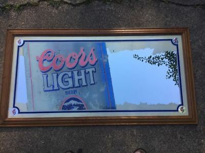 """Vintage 1998 Coors Light Beer Mirror Sign With Unique Frosting Accents 50"""" Long"""