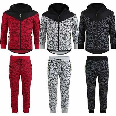 Kids Quilted 2Piece Set Scratch Print Hooded Tracksuit Neon Details Suit 3-16Y