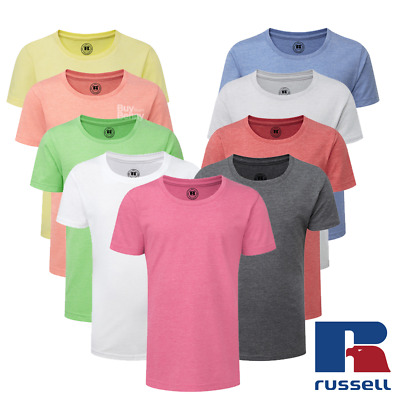 Russell Girls Kids Hd T-Shirt Slim Fit Plain Top Tee Crew Neck Colours Sizes New