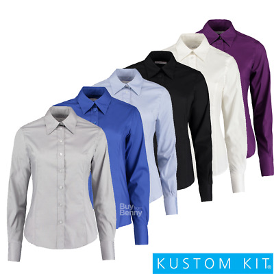 Kustom Kit Ladies Oxford Shirt Collar Cuffs Smart Tailored Easy Iron Sizes 8-26