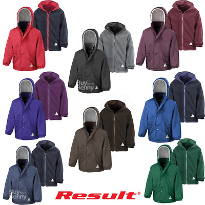 Result Resversible Jacket Waterproof Coat Fleece Hood Zip Warm Boys Girls Kids