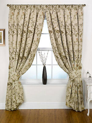 Thick Heavy Tapestry Jacquard Pair Lined Floral Curtains With Tie Backs 4 99 Picclick Uk