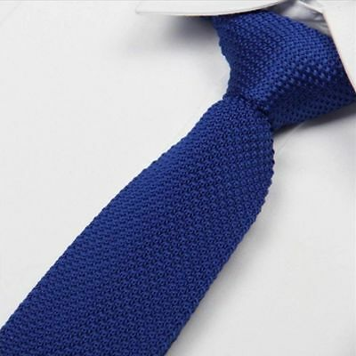 Solid Pure Slim Men's Knit Knitted Tie Woven Necktie Narrow