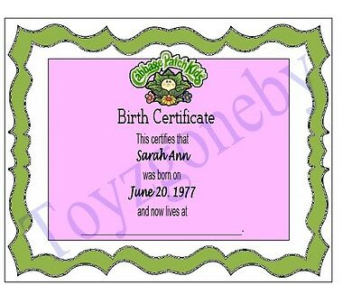 CABBAGE PATCH Kids doll Replacement Birth Certificate Adoption ...