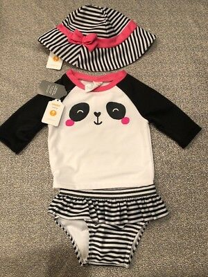 NWT Gymboree baby girl pink panda bathing swim suit rash guard hat SET 6 9 12