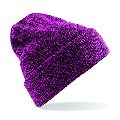 Beechfield Heritage Vintage Unisex Turn Up Beanie Hat Warm Double Layer Knit New