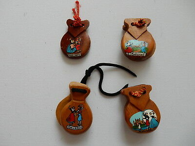 One Selected Wooden Castanet Souvenir Fridge Magnet from Mallorca Spain