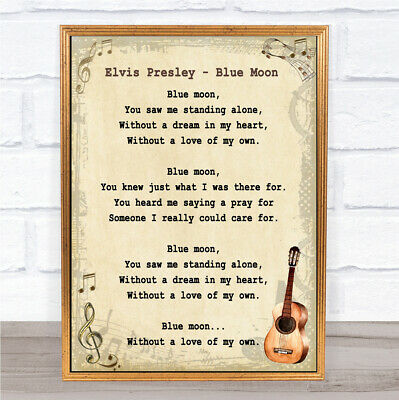 Blue Moon Song Lyric Vintage Quote Print