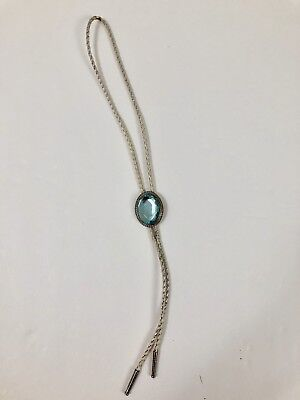 VTG Womens Bolo Tie Necklace Western Wear Cowboy Teal Stone White Ropes Silver
