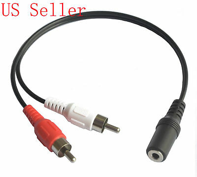 3.5mm Stereo Female Jack to 2 Male RCA AV Video Plug Adapter Audio Cable Cord