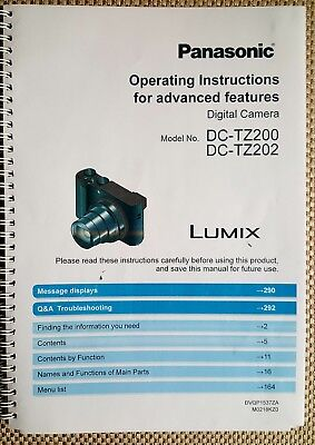Panasonic Dmc-Tz200 Full User Manual Guide Colour Printed 309 Pages A5