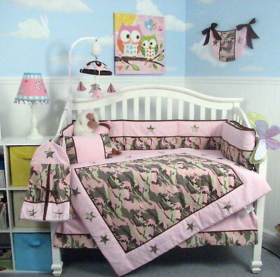 Camo Baby Bedding Sets.Soho Pink Camo Baby Crib Nursery Bedding Set 13 Pcs Included