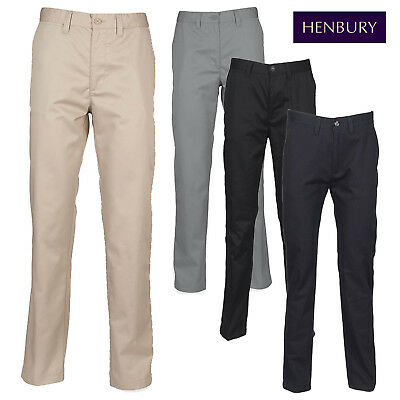 Henbury Men's Flat Front Straight Leg Smart Chino Trousers Casual Office Work