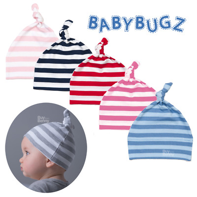 Baby Knot Hat Cap 100% Soft Cotton Newborn Boy Girl Comfort Stripy Colours Gift