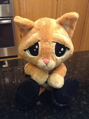 "Puss in Boots Plush Kitten Cat Doll Sad Eyes Shrek 13"" Excellent Condition Rare"