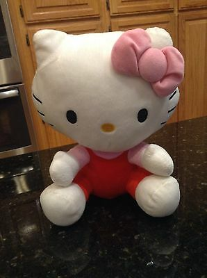 18c802d5d Hello Kitty Sanrio Plush Stuffed Animal with Red Overalls Pink Bow Shirt 11