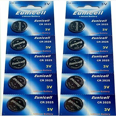 10 X EUNICELL CR2025 DL2025 3v LITHIUM BUTTON / COIN CELL BATTERIES