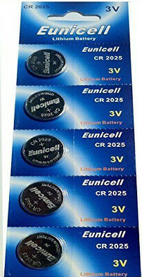 5x EUNICELL CR2025 DL2025 3v LITHIUM BUTTON / COIN CELL BATTERIES