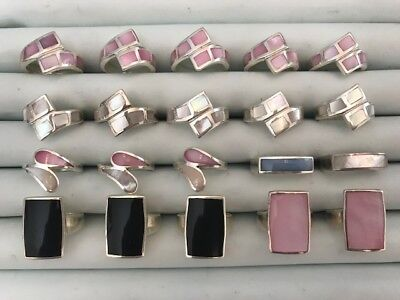 20 Sterling Silver Wholesale Rings Mother of Pearl #3