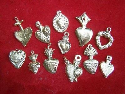 Milagro Lot - 25 ALL HEARTS Mexican Milagros, Golden Colour. Mexican Crafters