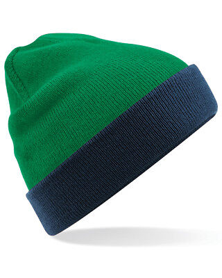 Beechfield Beanie Hat Reversible Contrast Cuff Slouch Soft Double Layer Knit New