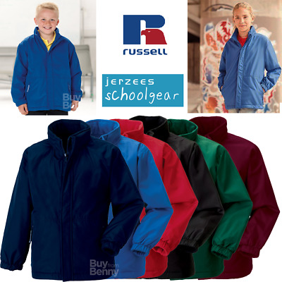 Russell Kids Jacket Waterproof Raincoat Hooded Reversible Fleece Boys Girls New