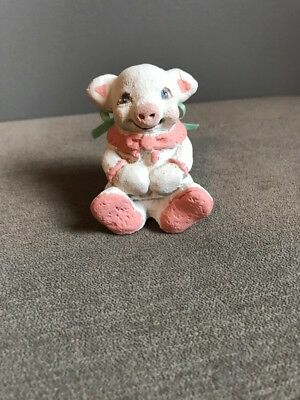 Dreamsicles PIG Signed Kristin Cast Art Industries Pink Scarf Animal