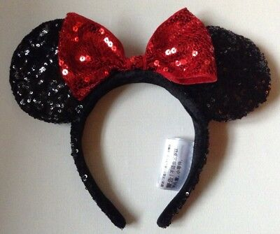 New! Disney Minnie Mouse Ears Headband (Black & Red) - Sequined