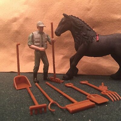 cowboy and stablehand newray brand schleich scale size and accessories model toy