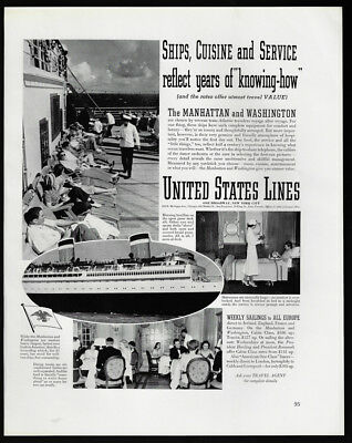1938 Vintage Print Ad 30's UNITED STATES LINES boat cruise ship image deck image