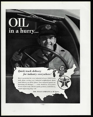 1938 Vintage Print Ad 30's TEXACO gas oil delivery truck driver man image