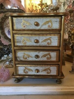 Florentine Dresser Box Music Italian Gold Pink bureau jewelry box display